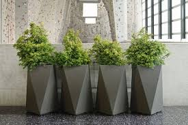 design a beautiful garden with modern planters indoor the suggested
