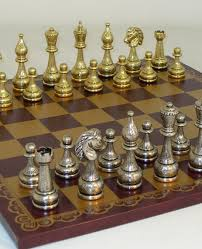 metal and brass chess set newcentco board games