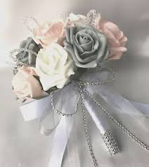 artificial wedding flowers posy bouquet baby pink white grey roses artificial wedding