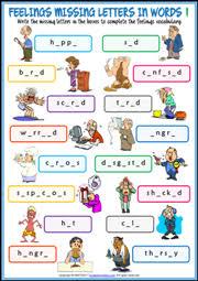 printable missing letters quiz feelings esl printable worksheets and exercises