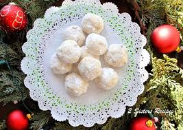 snow ball christmas cookies and online cookie exchange 2 sisters
