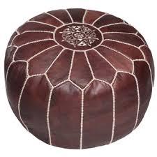 Ottoman Morocco Handmade Brown Moroccan Leather Ottoman Pouf Morocco Free