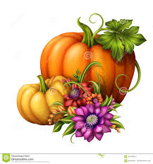 halloween white background autumn pumpkins with seasonal flowers illustration isolated on
