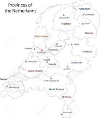 outline netherlands map with regions and main cities royalty free
