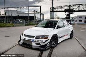 lancer evo white dreaming with a stormtrooper speedhunters