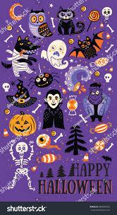 images of happy halloween happy halloween vector set characters icons stock vector 486954160