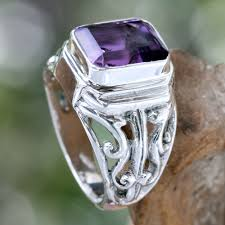 men ring designs men s sterling silver and amethyst ring wisdom warrior novica