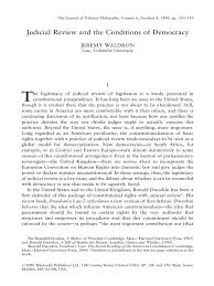 judicial review and the conditions of democracy jeremy waldron