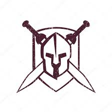 spartan helmet with crossed swords on shield u2014 stock vector