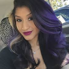 purple hair ombré with a brighter purple on top and a deeper