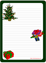 printable stationery template with christmas tree and gifts
