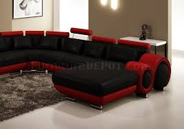 sectional sofa in black u0026 red bonded leather by vig