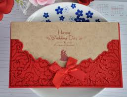 Handmade Wedding Invitation Cards Aliexpress Com Buy Red Lace Bowknot Personality Chinese Wedding
