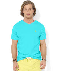 polo ralph lauren jersey v neck t shirt in blue for men lyst