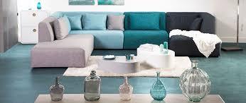 canapé en tissu design canapé design modulable tissu bleu 265cm compo 3 pluriel miliboo
