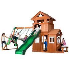Backyard Cedar Playhouse by Backyard Discovery Liberty Ii All Cedar Playset 44215com The