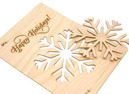 wood snowflake ornament card laser cut modern