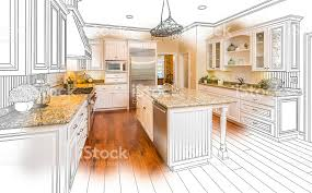 custom kitchen design drawing and brushed photo combination stock