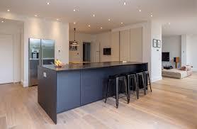 black kitchen island with stools modern black kitchen island breakfast bar integrated fridge