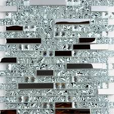 Glass Mosaic Tile Backsplash Interlocking Metal Glass Diamond TWS - Glass and metal tile backsplash