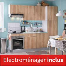 cuisine equipé cuisine équipée imitation chêne clair l 240 cm électroménager