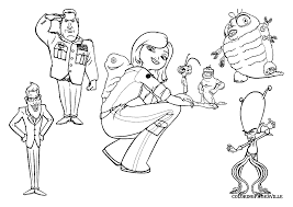 monsters vs aliens colouring pages coloring page