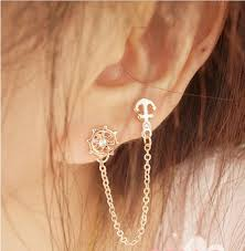 stud earrings with chain set auger anchor rudder earrings ear pierced stud earrings