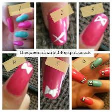 the queen of nails mini bow nail art with tutorial