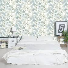Palm Tree Bedroom Furniture by Jungle Leaf Palm Trees Tropical Wallpaper White Soft Teal Green