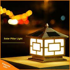 solar powered pillar lights china black outdoor garden light led solar powered pillar post l