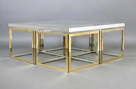 vintage square coffee table vintage large glass and metal coffee table for sale at pamono