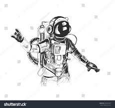 astronaut spacesuit raises hand hand drawn stock vector 605494067