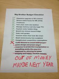 my assumption of what the big brother budget checklist must look