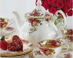 country roses tea set avon tea set etsy