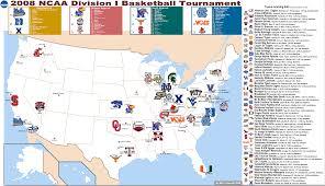 Nba Map 2008 Ncaa Division 1 Basketball Tournament 2nd Round 32 Teams