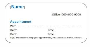 sample appointment card template business appointment card