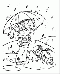 Outstanding Strawberry Shortcake Coloring Page With Rainy Day Rainy Day Coloring Pages