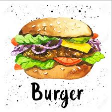 poster with hand drawn sketch of burger fast food american