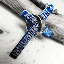 cross ring necklace images Blue quot padre nuestro quot stainless steel cross ring pendant bible jpg