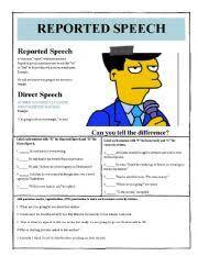 worksheet reported direct speech