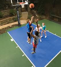 go green with a sport court backyard basketball court sport court