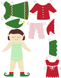 printable elf paper doll u2013 calobee doodles