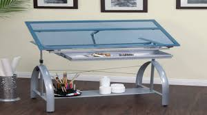 Glass Top Drafting Drawing Table Studio Designs Avanta Drafting Table In Silver With Blue Glass