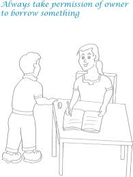 etiquette for kids in home coloring page 2