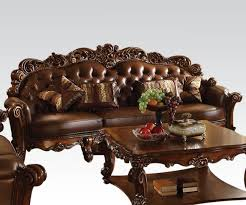 cherry brown leather sofa victorian oversized brown faux leather sofa with wood accents