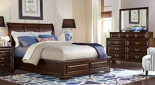 Mill Valley II Cherry  Pc Queen Sleigh Bedroom Queen Bedroom - Dark wood queen bedroom sets