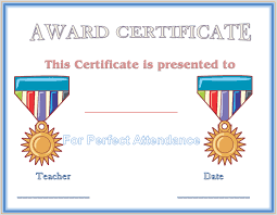 perfect attendance award certificate template professional and