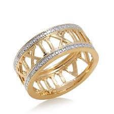 numeral ring technibond diamond accented numeral band ring