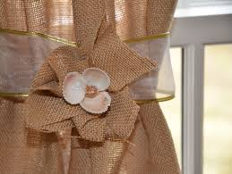 decorating burlap curtains with jute tie back for home decoration