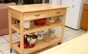 kitchen diy wood portable island for kitchen with two shelves